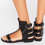 SIXTY SEVEN TRIVIA BLACK BUCKLE SANDALS$109.00