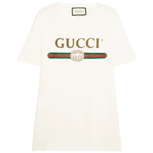 GUCCI APPLIQUED DISTRESSED PRINTED COTTON JERSEY TSHIRT $570