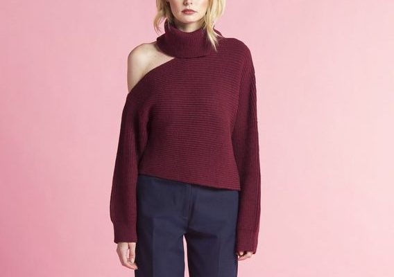 OFF THE SHOULDER KNIT MAROON